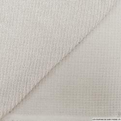 Coton double face éponge nid d'abeille gris perle au mètre