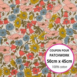 Coton liberty ® Poppy daisy venus - Coupon 50x45cm