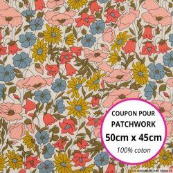 Coton liberty ® Poppy daisy venus - Coupon 50x45cm