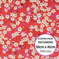 Coton liberty ® Mitsy hibiscus - Coupon 50x45cm