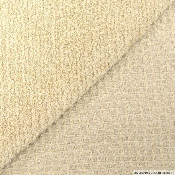 Coton double face éponge nid d'abeille sable au mètre