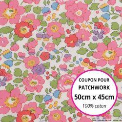 Coton liberty ® Betsy fuchsia - Coupon 50x45cm