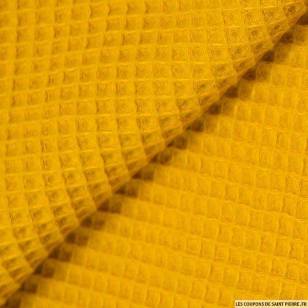 Coton nid d'abeille moutarde au mètre