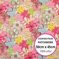 Coton liberty ® Mauvey rose - Coupon 50x45cm