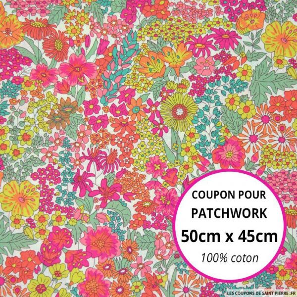 Coton liberty ® Margaret rose Coupon 50x45cm