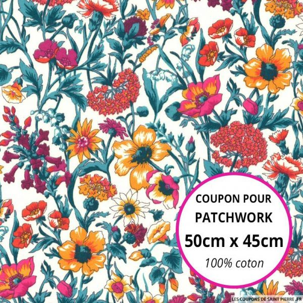 Coton liberty ® Rachel orange Coupon 50x45cm