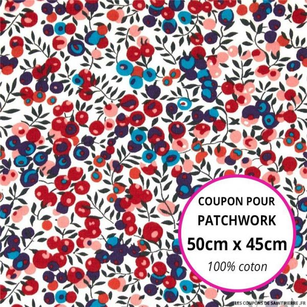 Coton liberty ® Wiltshire rouge et bleu Coupon 50x45cm