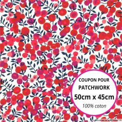 Coton liberty ® Wiltshire rouge - Coupon 50x45cm