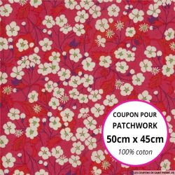 Coton liberty ® Mitsy rouge - Coupon 50x45cm
