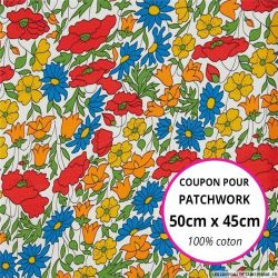 Coton liberty ® Poppy daisy jaune et rouge - Coupon 50x45cm