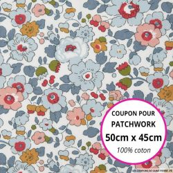 Coton liberty ® Betsy porcelaine - Coupon 50x45cm