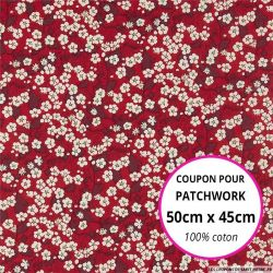 Coton liberty ® Mitsy valeria rouge - Coupon 50x45cm
