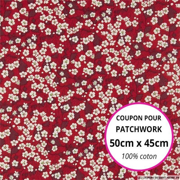 Coton liberty ® Mitsy valeria rouge Coupon 50x45cm