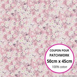 Coton liberty ® Mitsy valeria rose - Coupon 50x45cm