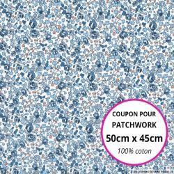 Coton liberty ® Eloise classique bleu - Coupon 50x45cm