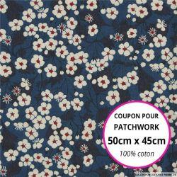 Coton liberty ® Mitsy marine - Coupon 50x45cm