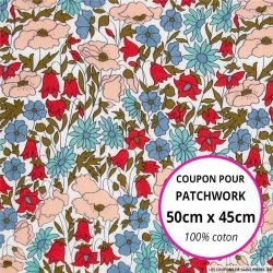 Coton liberty ® Poppy daisy bleu et rouge - Coupon 50x45cm