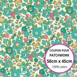 Coton liberty ® Betsy vert - Coupon 50x45cm