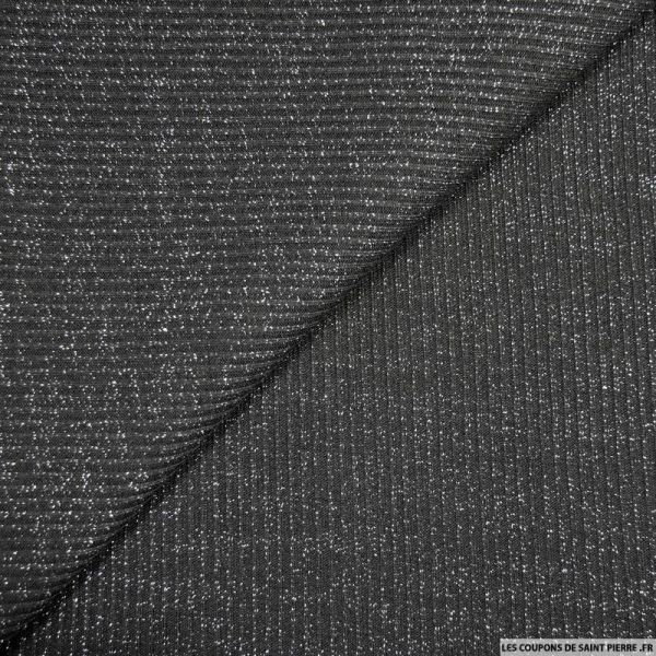 Maille côtelée lurex noir