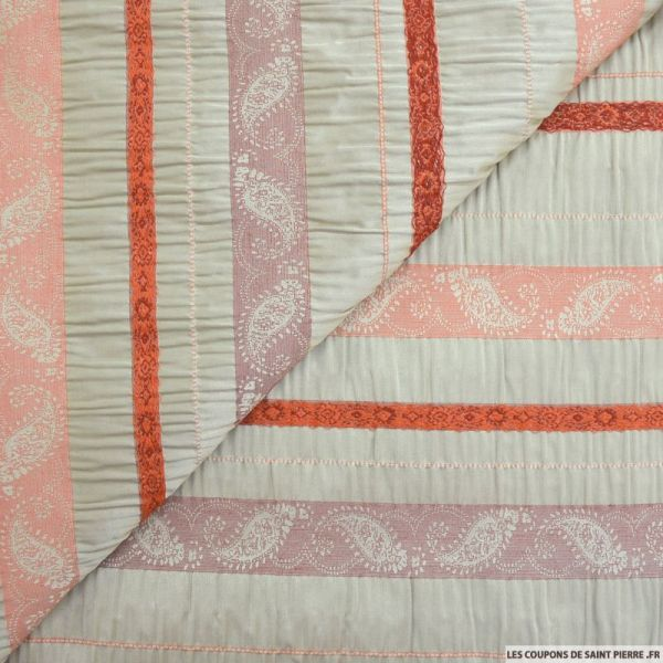 Jacquard polyester seersucker rayures cachemire fond sable
