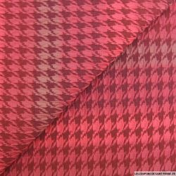 Jacquard polyester élasthane pied de coq rouge