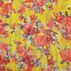 Mousseline dévorée rayures dorés aquarelle fond jaune