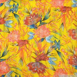 Mousseline dévorée rayures dorés tropical fond jaune