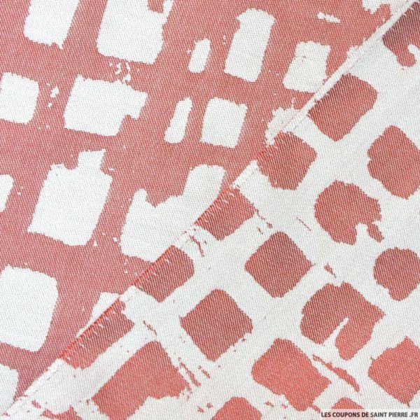 Jacquard polycoton rectangle rouge