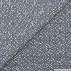 Jacquard polycoton bleu jeans motif zigzag