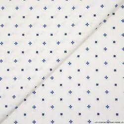 Satin de coton élasthane imprimé porto fond blanc