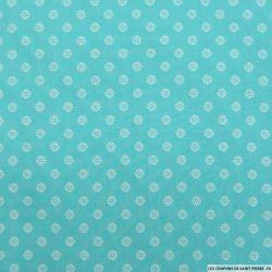 Coton imprimé marguerite fond turquoise