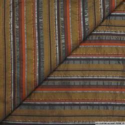 Jacquard polyester rayures marron fond kaki et fils irisés