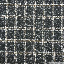 Tweed polyester carreaux noir