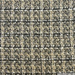 Tweed polyester carreaux beige