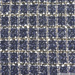 Tweed polyester carreaux marine