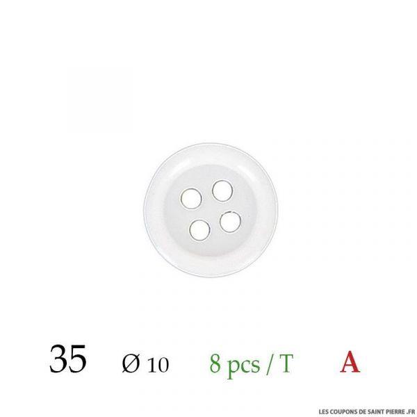 Tube 8 boutons blanc Ø 10mm
