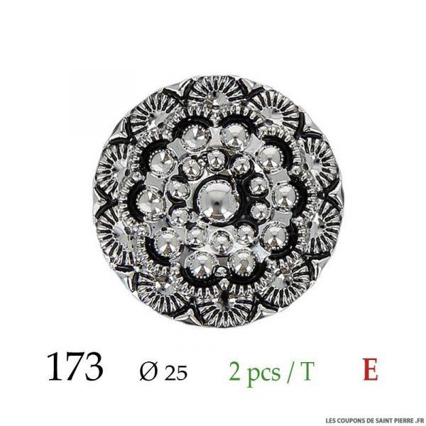Tube 2 boutons argent Ø 25mm