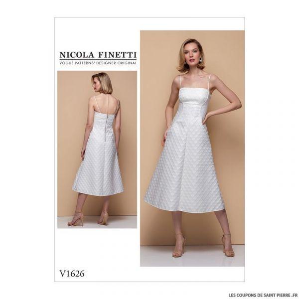 Patron Vogue V1626 : Robe midi à bretelles