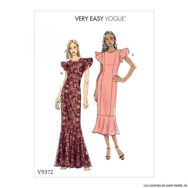 Patron Vogue V9372 : Robe longue à volants