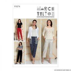 Patron Vogue V9374 : Pantalon taille élastiquée