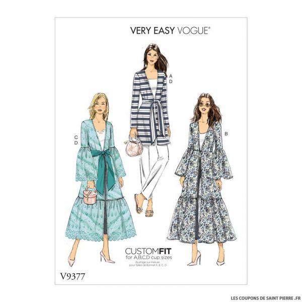 Patron Vogue V9377 : Veste longue et ceinture