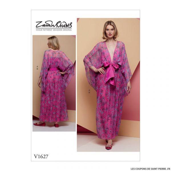 Patron Vogue V1627 : Robe kimono et ceinture