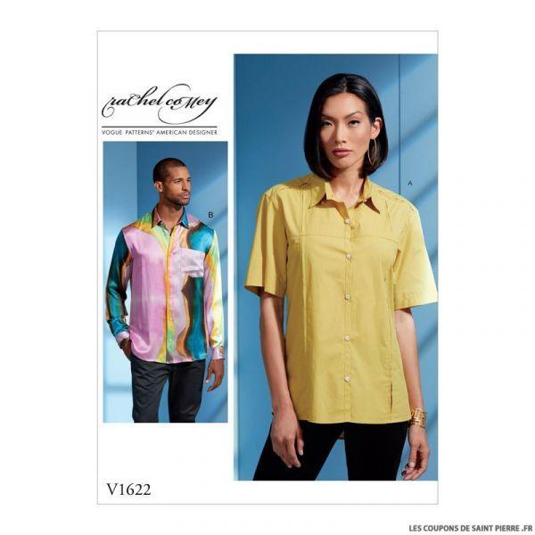 Patron Vogue V1622 : Chemise unisexe