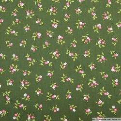 Coton imprimé bouquet floral fond kaki