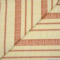 Jacquard polyester seersucker rayures cachemire brique