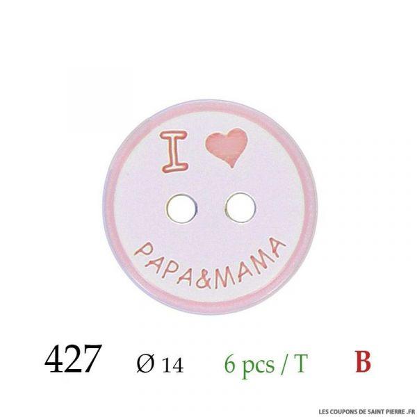Tube 6 boutons papa & mama rose Ø 14mm