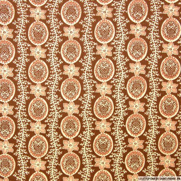 Polycoton imprimé frise fleurs marron