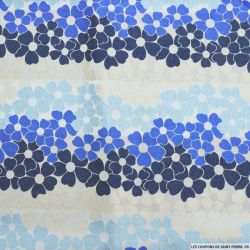 Jacquard polyviscose fleurs bleu