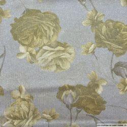 Jersey polyester fin fleurs fond gris clair rayures argent