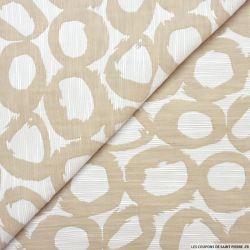 Jacquard polycoton cercle beige fond écru